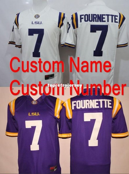 Factory Outlet- 2015-2016 New Style Custom Men LSU Tigers Jersey Personalized NCAA College Football Jersey Cotton white blue Color SEC Patch