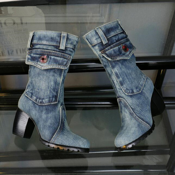 Stylish Blue Denim Boots Women Shoes Cowboy Pocket Design Knee High Boots Square Heel Short Plush High Heels botas mujer