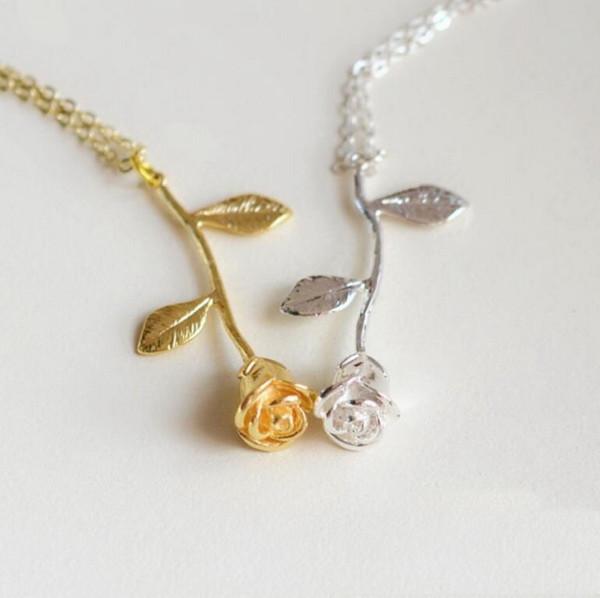 Creative New Fashion Roseflower Pendant Necklace for Valentine'\s Day Flower Pendant Necklace New Jewelry Gifts Free Shipping