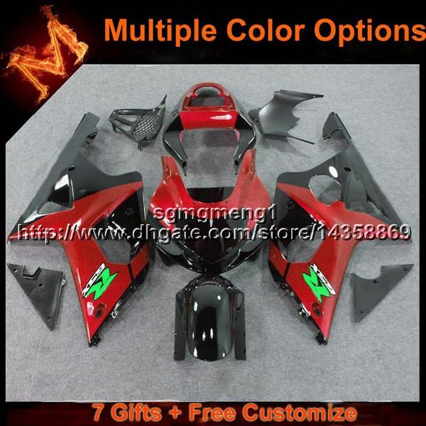 23 renkler + Hediyeler için kırmızı siyah motosiklet fairing Suzuki GSXR 1000 2000 2001 2002 2002 ABS plastik motor panelleri kiti