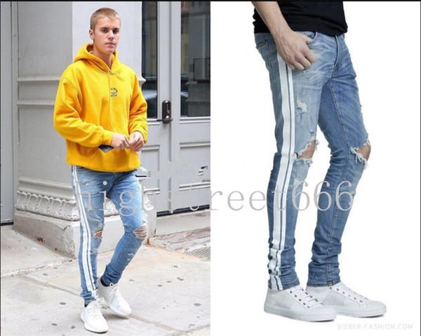 Alta qualità new hot 18SS TRACK JEAN LIGHT Jeans uomo lavaggio ad acqua fare vecchio bar bianco High street hip-hop Little feet pantsJustin bieber
