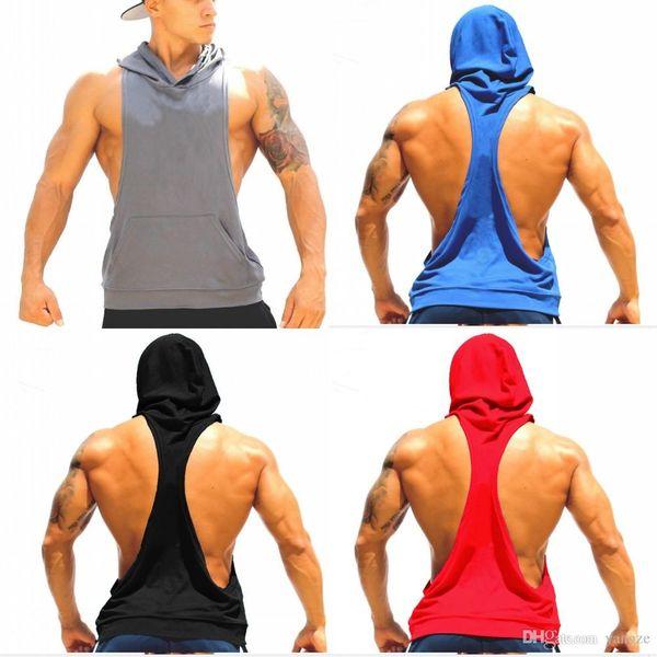 Cotton Stringer Gym Fitness Hoodies Sleeveless Gym Sport Undershirt For Men Work out Tank Tops Shirt Blank Bodybuilding Equipment MY9022