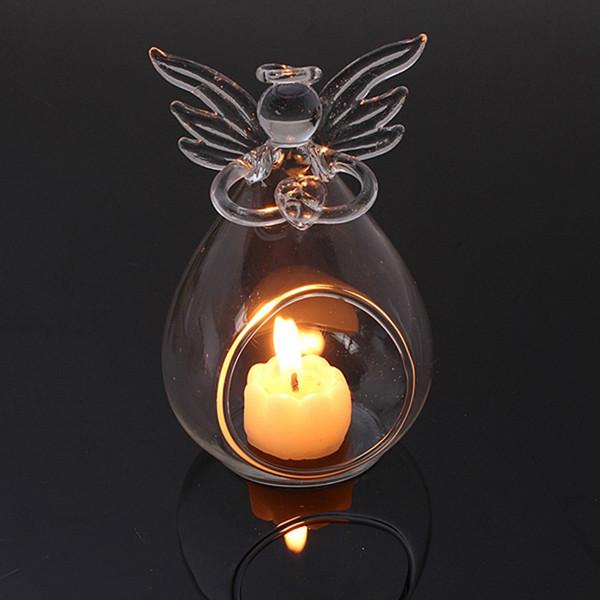 Romantic Transparent Angel Christmas Hanging Tealight Holder Glass Terrarium Glass Globe Candle Holder Candlestick Wedding Bar Decor