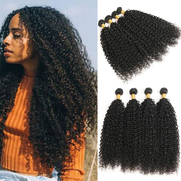 Virgin Human Hair Bundles Brazilian Jerry Curly Hair Weft 4 Pcs Natural Black Ratio Longest Hair PCT 15%