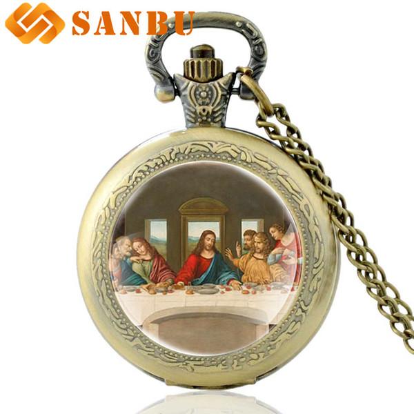 Vintage Bronze Da Vinci funziona L'ultima cena orologio da tasca al quarzo Orologio da donna con ciondolo classico da donna retrò