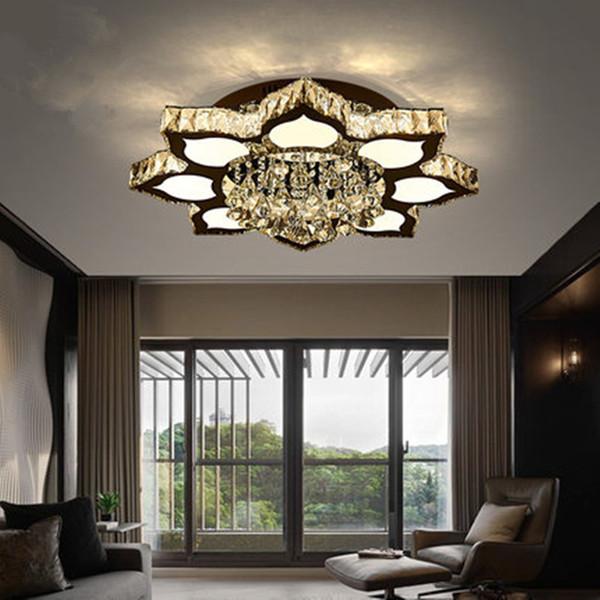 Europäische Einfache Moderne 2.4G Fernbedienung Dreifarbige Kristalllampe  Schlafzimmer Deckenleuchte Romantische Restaurant LED Deckenleuchten