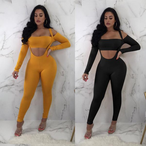 Mulheres Outono Sexy 2 Peça Set Sólida Ombro Frio Top Colheita E Calças Skinny Definir Suor Ternos Clubwear Partido Two Piece