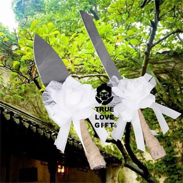 Gâteau De Mariage Couteau Pelle Costume Cadeau Boîte De Toile De Jute Couleur Blanc Dentelle Fleur Amour Cuisine Outil De Fête 19yr bb