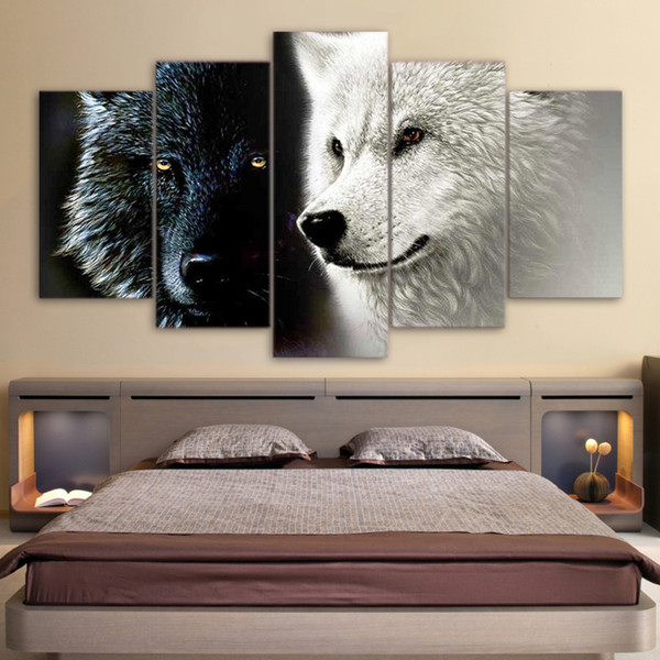 HD Printed 5 Piece Canvas Art Abstract Black White Wolf Couple Painting Wall Pictures for Living Room Home Decoration Gift
