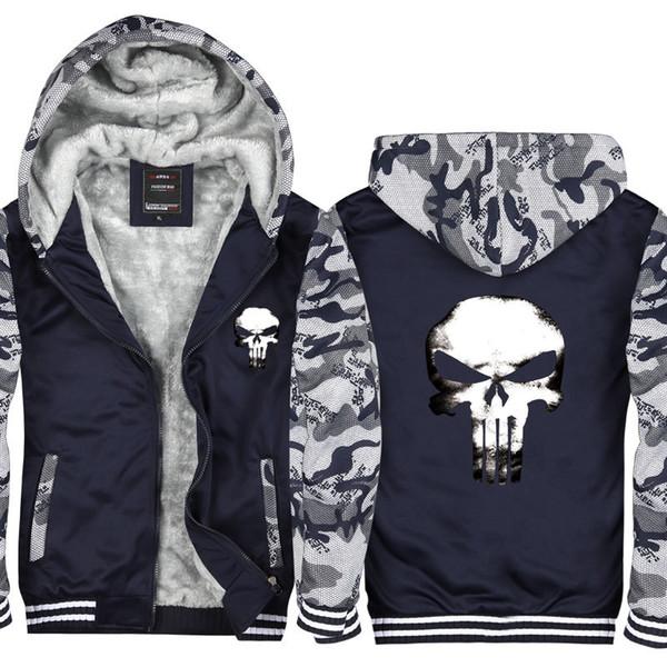 Kamuflaj Punisher Kafatası Erkekler ve Kadınlar Kış Hoodie Fermuar Ceket Kazak Kalınlaşmak Hırka Ceket Eşofman ABD AB Boyutu