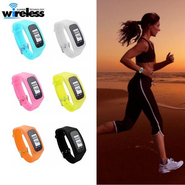 Digital LED Pedômetro Run Passo Curta Distância Contador de Calorias Relógio Pulseira de Design de Moda Pedômetro De Silicone Colorido