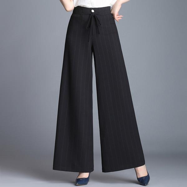 la moitié be3a4 9d750 Acheter Pantalon Large Femme Taille Haute Capris Rayé Nouveau Pantalon  Décontracté Femme Printemps Été Automne Noir Blanc Jaune Sy50824 De $38.2  Du ...