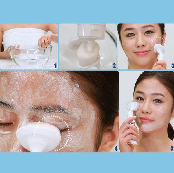 Limpiador facial ultrasónico eléctrico con cepillos, cuidado personal, acné, masajeador facial, piel, herramientas de belleza, máquina suave, 4 colores, envío gratis
