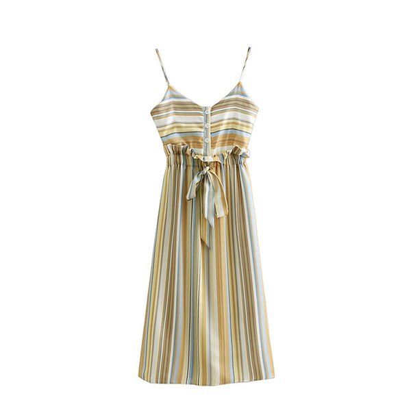 Elegant Vertical Stripes Print Harness Dress Sexy V-Neck Elastic Waist Bow Tie With Single-breasted Decoration Women Beach Dress
