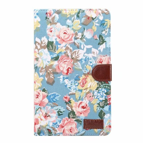 Case for Samsung Galaxy Tab A 8.0 2017 T380 T385 SM-T380 SM-T385 Flower PC+Cloth Wallet Clasp Card Slot Stand Folio Cover+PEN