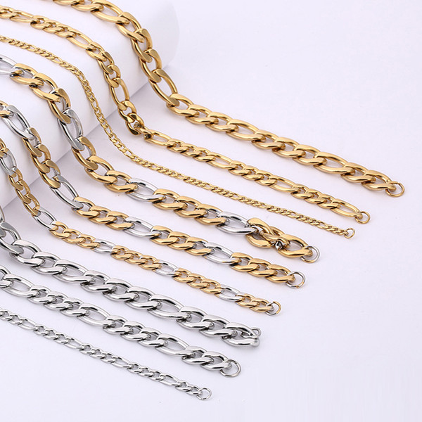 """6mm Gold and Silver Keel Chains Necklaces For Men Titanium Steel Chain Necklace 18"""" 20"""" 22"""" 24"""" 26"""" 28"""" Jewelry wholesale - 0787WH"""