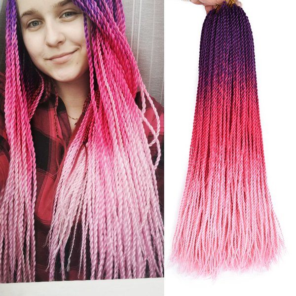 TOMO 24inch Crochet Senegalese Twist Braids Purple Pink Ombre Synthetic Braiding Hair Extensions Black Or White Woman Braids 30 Roots/Pack