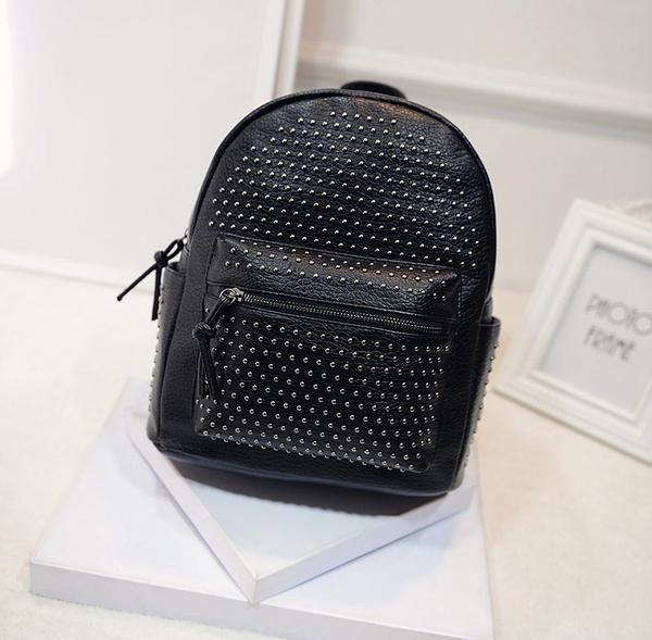 Women's Fashion PU Leather Rivets ZIp School Shoulders Bags Satchel Backpacks