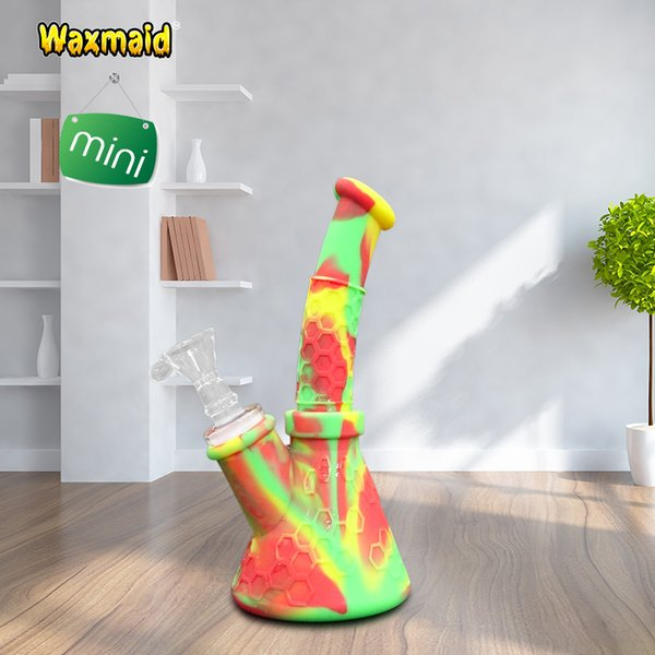 Water Pipe Beaker Bong Glass Pipe Waxmaid 7 Inch Silicone Water Pipe Smoking Oil Rig with 14mm Bowl Factory ON SALE