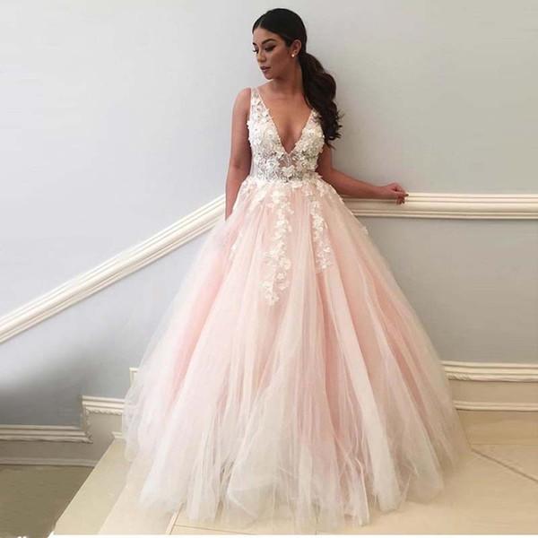 Acheter Robe De Mariee Rose Clair A Line 2018 V Cou 3d Fleurs Appliques De Dentelle Robe De Mariee Rose Robe De Mariee Formelle Robe De Soiree Robe De