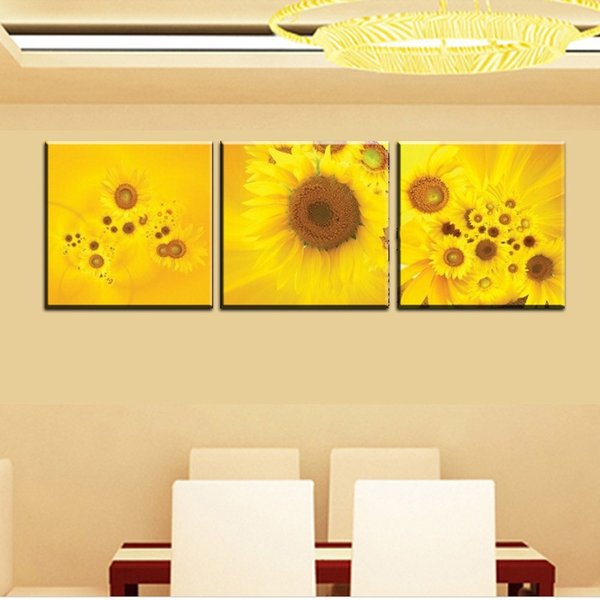 3 Piece Print Painting Canvas Wall Art Modern Flower Decoration Picture Solid yellow Color Picture sunflower