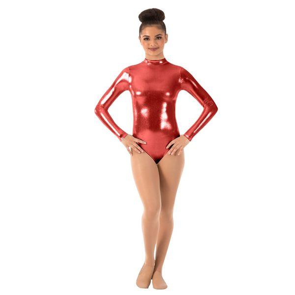 New Women Metallic Shiny Suit Ballet Dance Wear Bodysuit for Women Gymnastics Leotard Tight Lycra Suit Girls Wetlook Leotard