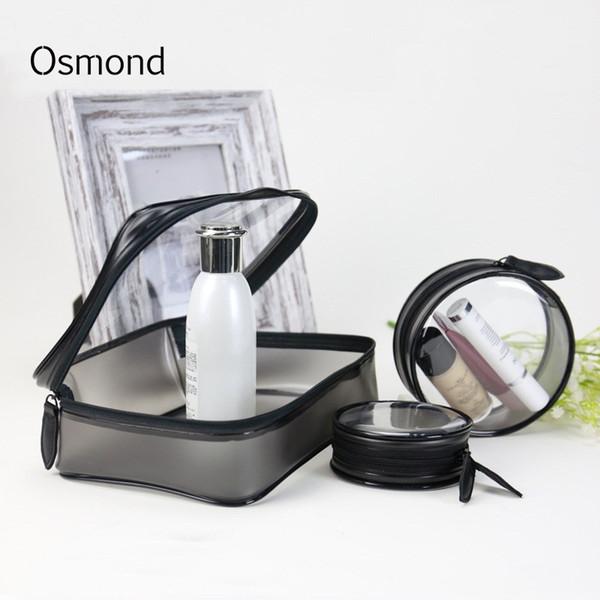Osmond 1pcs Transparent Makeup Bags Women Cosmetic Bag Clear PVC Makeup Cases Circular Storage Organizer Toiletry Bag Ladies