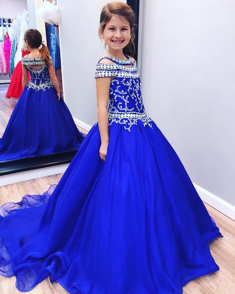 Beauty Royal Blue Crystals Girls Pageant Dresses Beaded Cap Sleeves Kids Princess Ball Gown Flower Girl Dress for Weddings Bling Bling