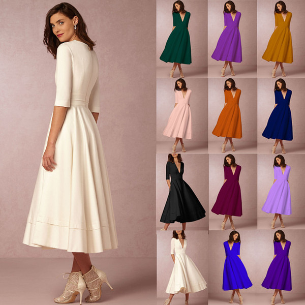 Europe summer dresses for women clothes high-end party dresses new sexy deep V white club dress plus size vestidos womens dresses