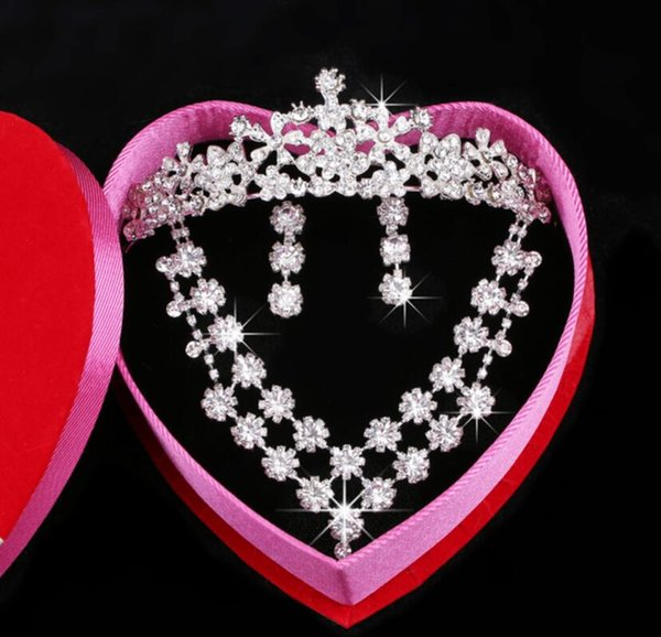 Austrian Rhinestone Crystal Necklace Earrings Set Bridal Crown Tiara Wedding Jewlery 2018 Daisy Korean pearl Crystal