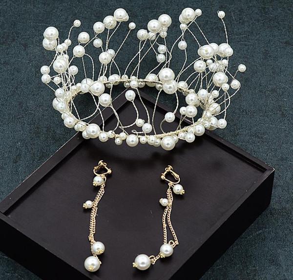 New handmade pearl crown wedding dress headwear, super fairy girl accessories