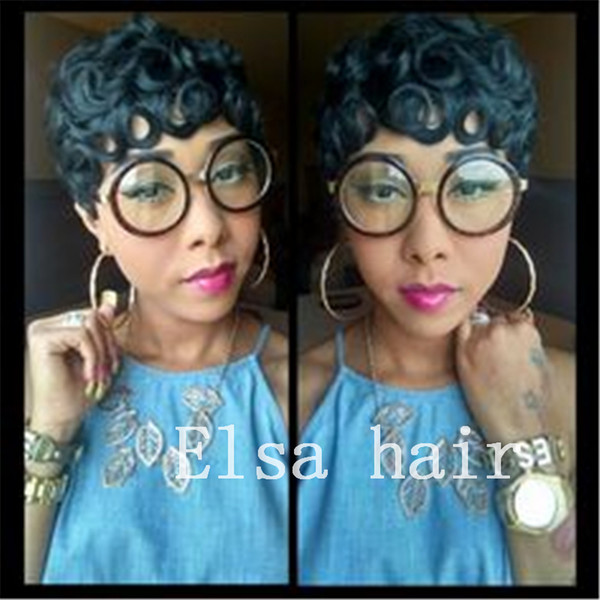 Short Human Hair wigs Wavy Natural Curly Pixie Cut With Bangs For Black Women African American Wig Short Wig Women's