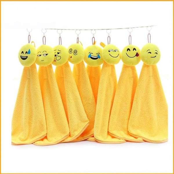 Smiling Face Emoji Dishcloth Water Uptake Giallo Cartoon Velluto di corallo mano asciugamano per la cucina di casa Clean Tool 6zt ff