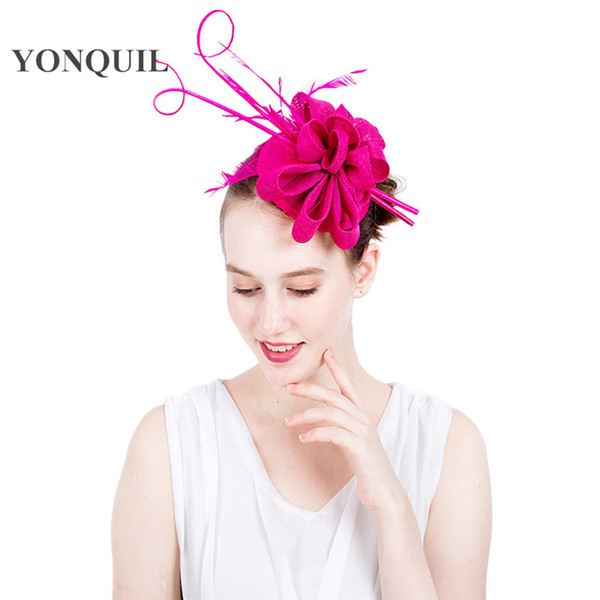 New design High quality 17 colors party church fascinators hat fancy ostrich quill headpiece feather hair clips for occasion wedding SYF116