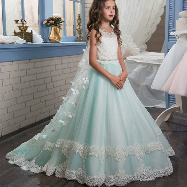 Flower Girl Dresses Tiered Lace Applique Hand Made Flower with Wraps Girls Kids Birthday Party Dresses Princess Dresses Girls Pageant Dess