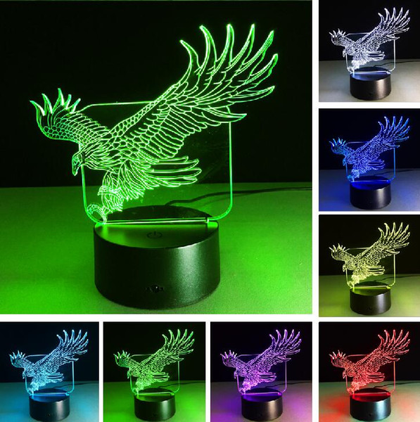 Hot Sale New Grand Animal Wings Eagle 3D Visual Night Lights Touch Switch Remote Table Lampara Sleep LED Lamp Child Kids Xmas Festival Gifts
