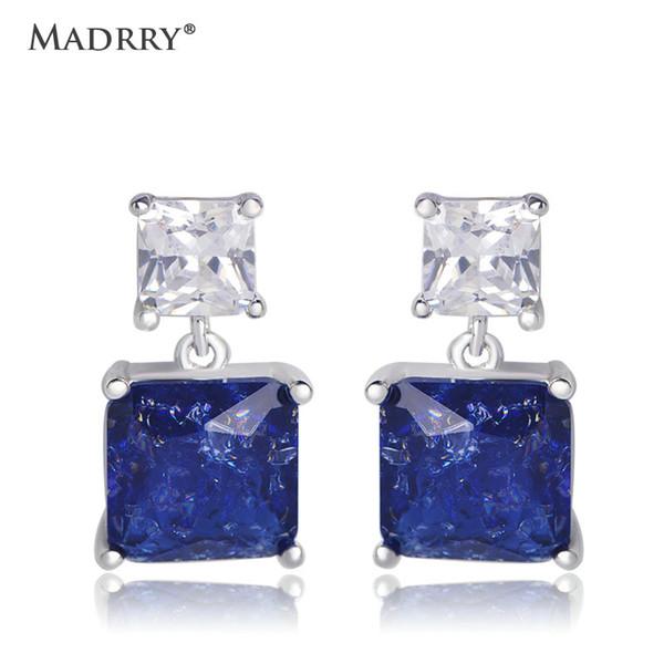 Madrry Square Zircon Silver Earring Dangle Earrings For Women Banquet Jewelry Ear Fashion Copper Drop Earring boucle d'oreille