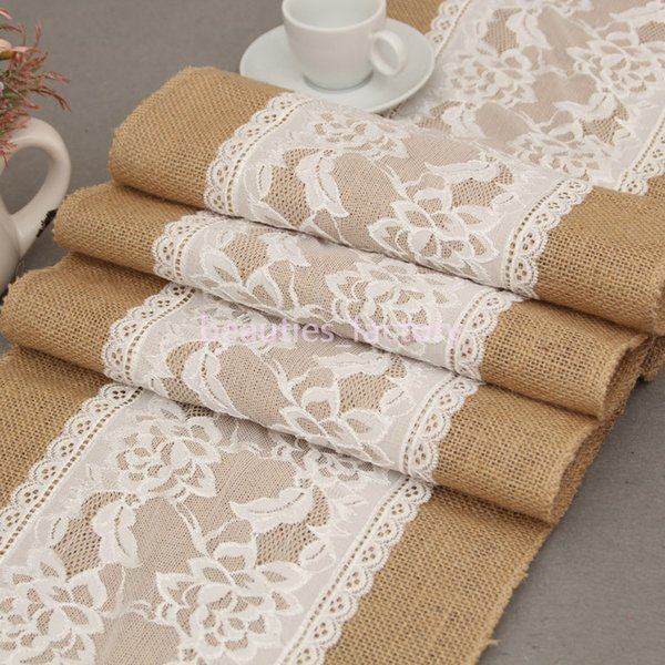 30X275CM Long Burlap Table Runner Cloth Lace Flower Hessian Country Wedding Party Decor 5 pcs /lot