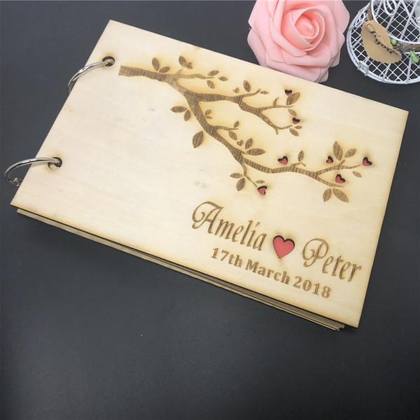Guestbook personalizado, árvore de amor de madeira Sr. deputado casamento Guest Book