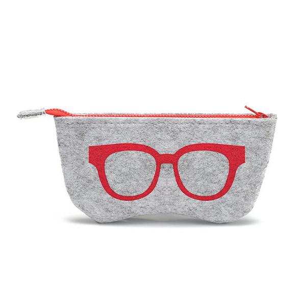 Stripped Zipper Glasses Pouch Sunglasses Case Portable Felt Bag Protector Storage Bag Freeshipping 18.5*9cm