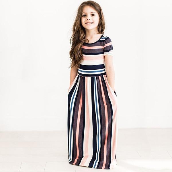 finest selection 8d47f 2ea7b Acquista Abbigliamento Bambini Vestito Da Bambina Vestito Lungo Da Boho  Vestito Lungo Da Abito Floreale Manica Corta Abito Da Cerimonia Floreale ...