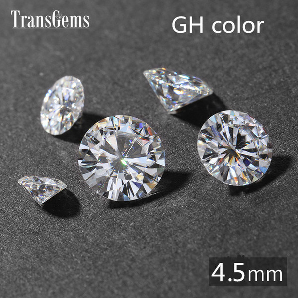 best selling TransGems 0.4ct Carat 4.5mm GH Colorless Round Brilliant Cut Lab Grown Moissanite Diamond Test Postive as Real Diamond