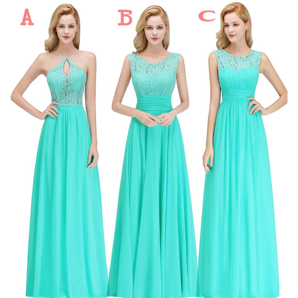 2019 Cheap Country Style Turquoise Bridesmaid Dresses Custom Made Lace Chiffon Long Formal Wedding Guest Party Gowns BM0052