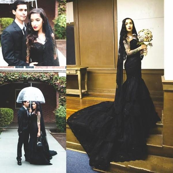 Black Gothid Wedding Dress with Black Veil Sweetheart Neck Beaded Black Lace Long Mermaid Retro Vintage Bridal Gown Custom Made