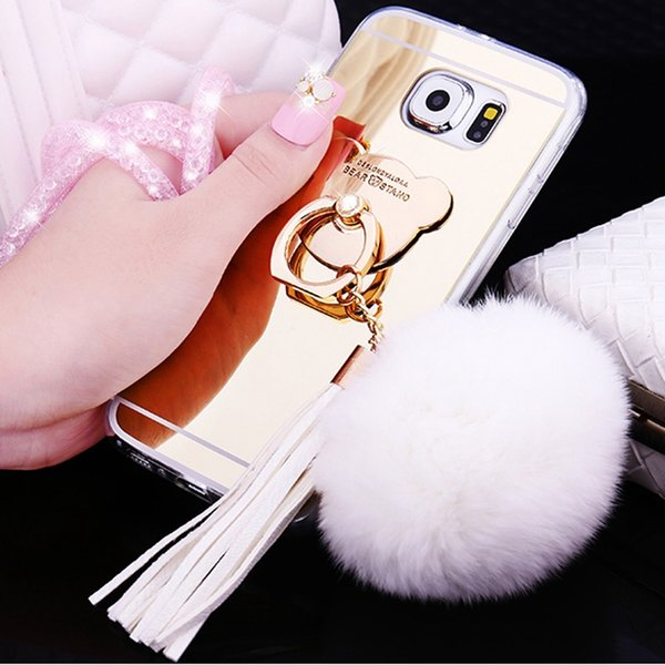 Note 9 Mirror Luxury Phone Cover Case For Samsung Galaxy Note 5 8 4 Hair ball Tassels Chain S8 S9 Plus Bling Girl TPU Soft Cover