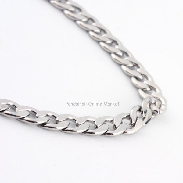 whole sale316 Stainless Steel Curb Chains Necklaces, with Lobster Claw Clasps, Stainless Steel Color, 23.6
