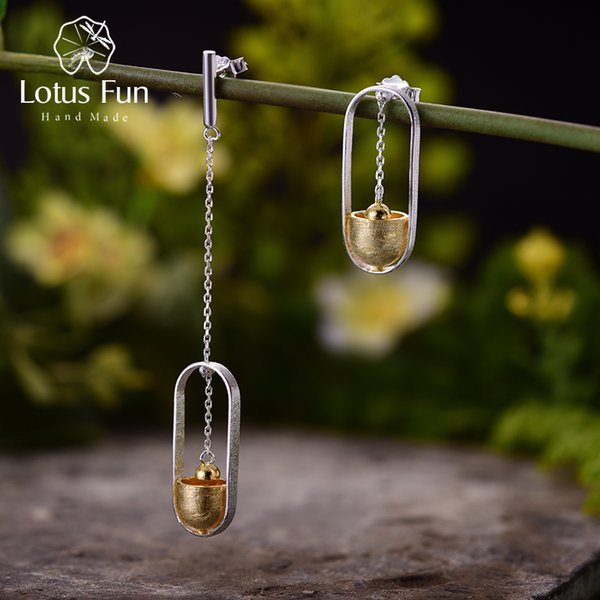 Lotus Fun Real 925 Sterling Silver Handmade Fine Jewelry Creative Hammer Ram Design Dangle Earrings for Women Brincos S18101206