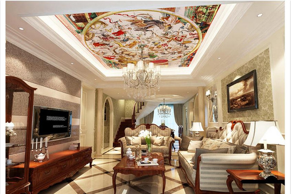 Custom Large Ceiling Mural Wallpaper European style ancient Roman medieval ceiling dome wallpaper decor Photo Mural Ceiling Wallpapers