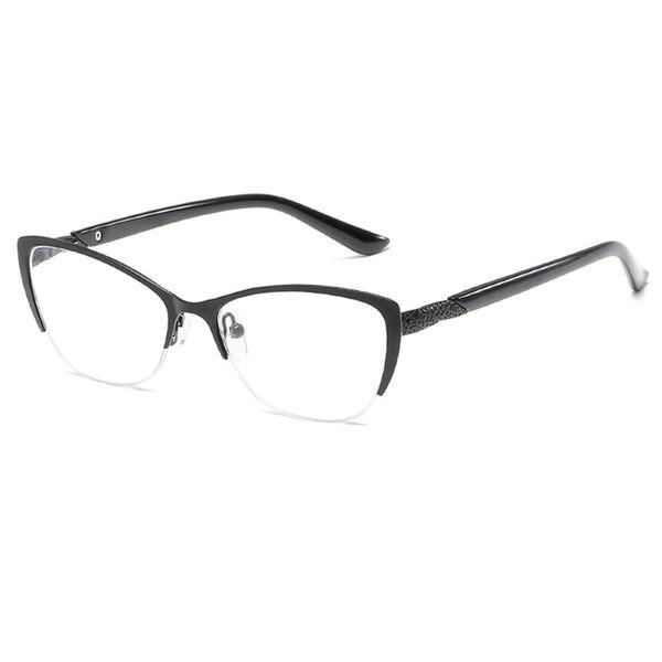 Half Frame Reading Glasses Women Metal Optical Mirror Glasses Anti-Fatigue Hyperopia Women's Cat Eye HD Resin Lens Presbyopic Reading Glass