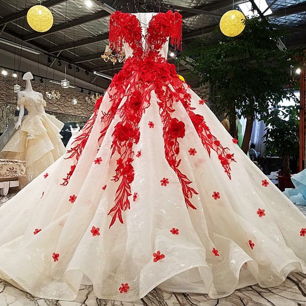 2019 Evening Party Red Flower Off The Shoulder Lace Up O-Neck Evening Dress Formal Dresses Vestidos De Fiesta Real Photos Evening Dresses